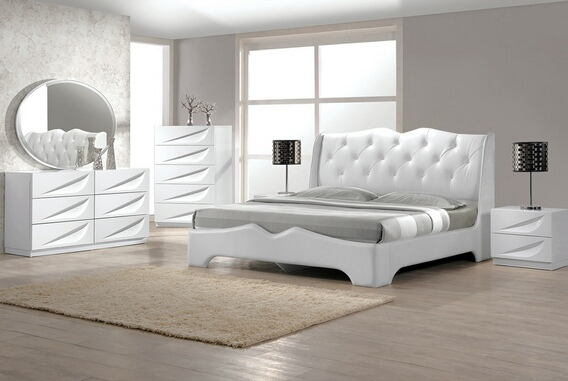 Best Master Madrid 4 pc madrid white lacquer finish wood modern style queen bed set