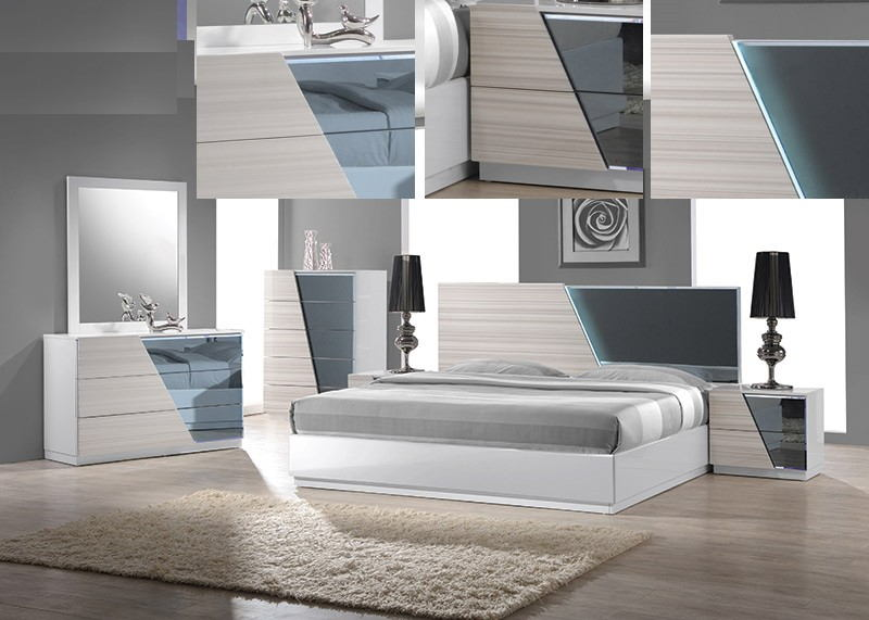 4 pc manchester collection zebra white lacquer finish wood modern style queen bed set with lighted headboard