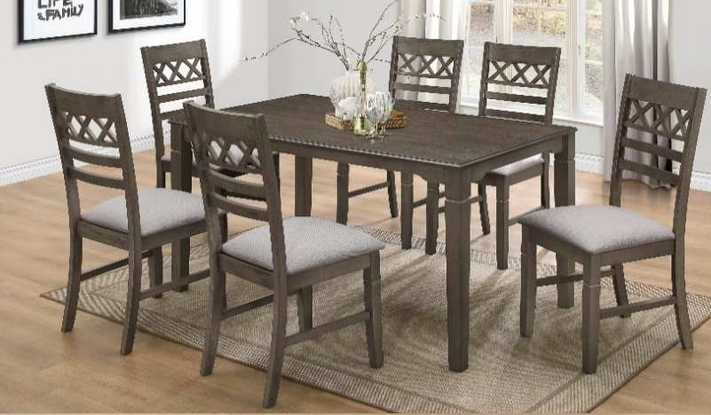 Casa Blanca Matrix-7PC 7 pc Matrix antique gray finish wood dining table set