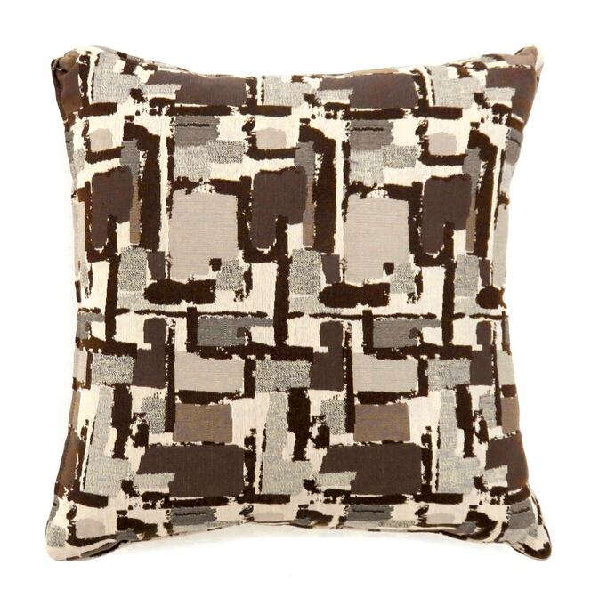 "PL6003BR Set of 2 concrit brown colored fabric 22"" x 22"" throw pillows"