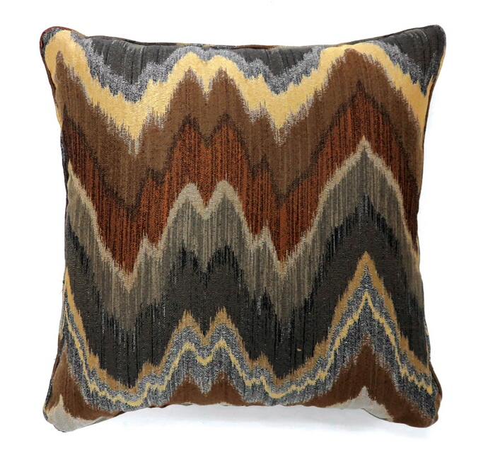 "PL6008S Set of 2 seismy multi colored fabric 18"" x 18"" throw pillows"
