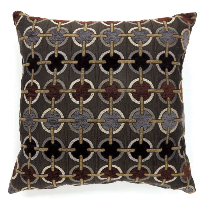 """PL6015 Set of 2 targe brown colored fabric 18"""" x 18"""" throw pillows"""