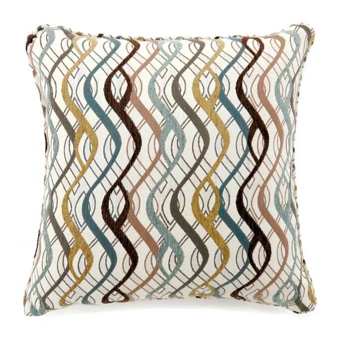 """PL6016S Set of 2 sine multi colored fabric 18"""" x 18"""" throw pillows"""