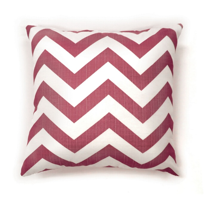 "PL6022RD Set of 2 zoe collection red chevron colored fabric 18"" x 18"" throw pillows"