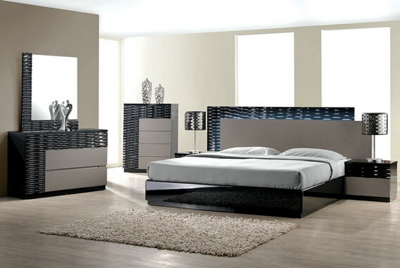 4 pc romania black lacquer finish wood modern style queen bed set with zebra gray accents