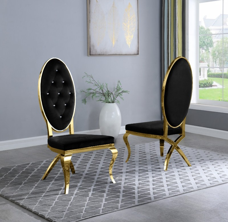 Best Quality SC57 Set of 2 Francis black faux velvet fabric tufted gold tone legs dining chairs