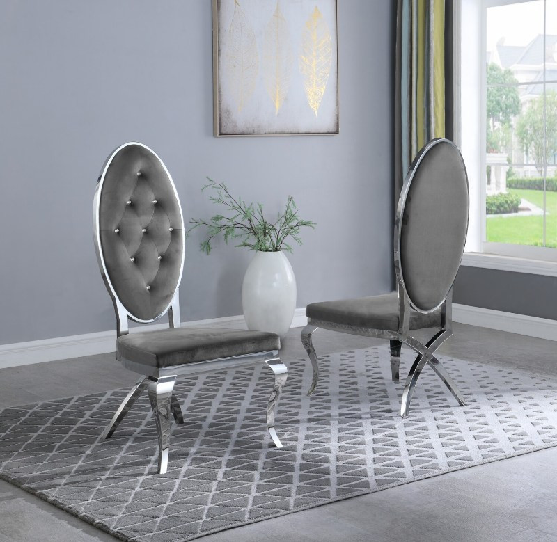 Best Quality SC61 Set of 2 Francis gray faux velvet fabric tufted chrome legs dining chairs