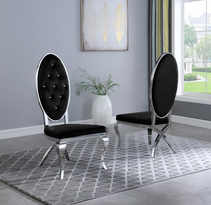 Best Quality SC62 Set of 2 Francis black faux velvet fabric tufted chrome legs dining chairs