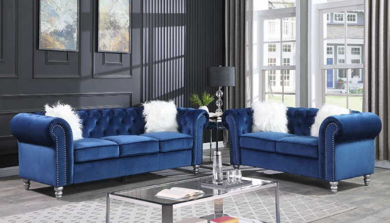 SF3511 2 pc Darby home co. townsend blue velvet like fabric sofa and love seat set