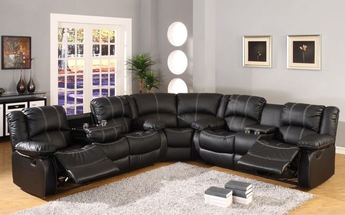 3 pc townsend collection black leather like vinyl with white accented stitching and recliner ends sectional sofa