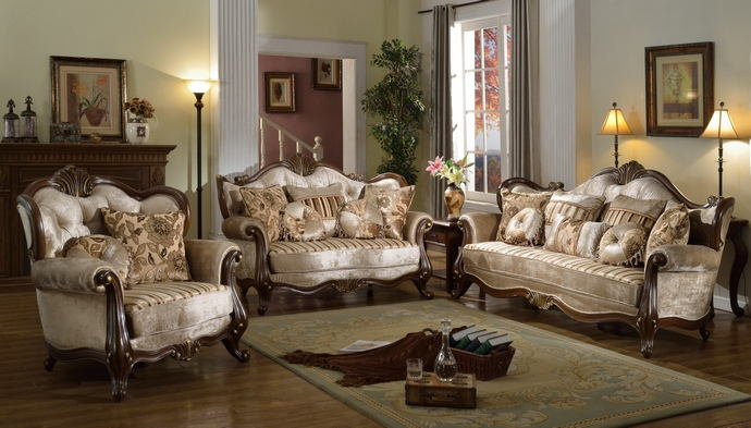 2 pc bridgette collection multi tone and pattern chenille fabric upholstered sofa and love seat with wood trim