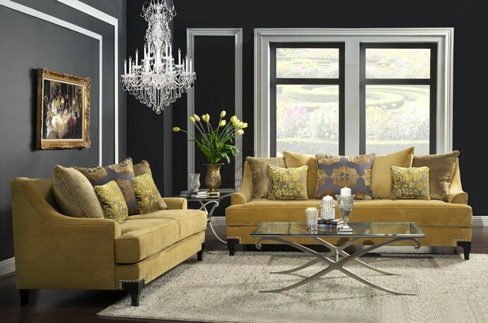 2 pc viscontti collection gold bella velvet fabric upholstered sofa and love seat set