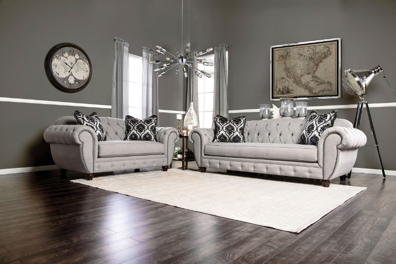 SM2291 2 pc viviana gray linen like fabric sofa and love seat set