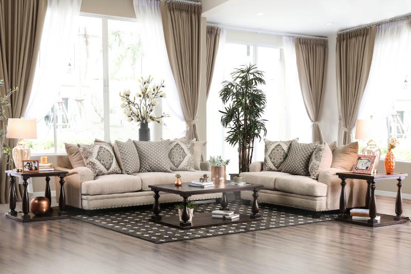 SM3074 2 pc Pauline light brown chenille fabric sofa and love seat set