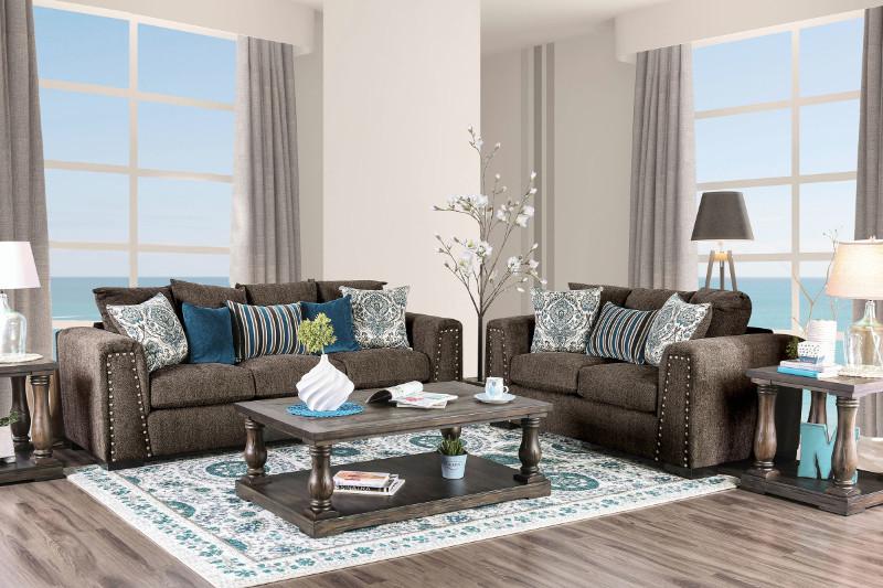 SM3076 2 pc Pauline brown linen like fabric sofa and love seat set