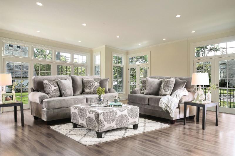 SM5142GY 2 pc Bonaventura gray plush microfiber sofa and love seat set