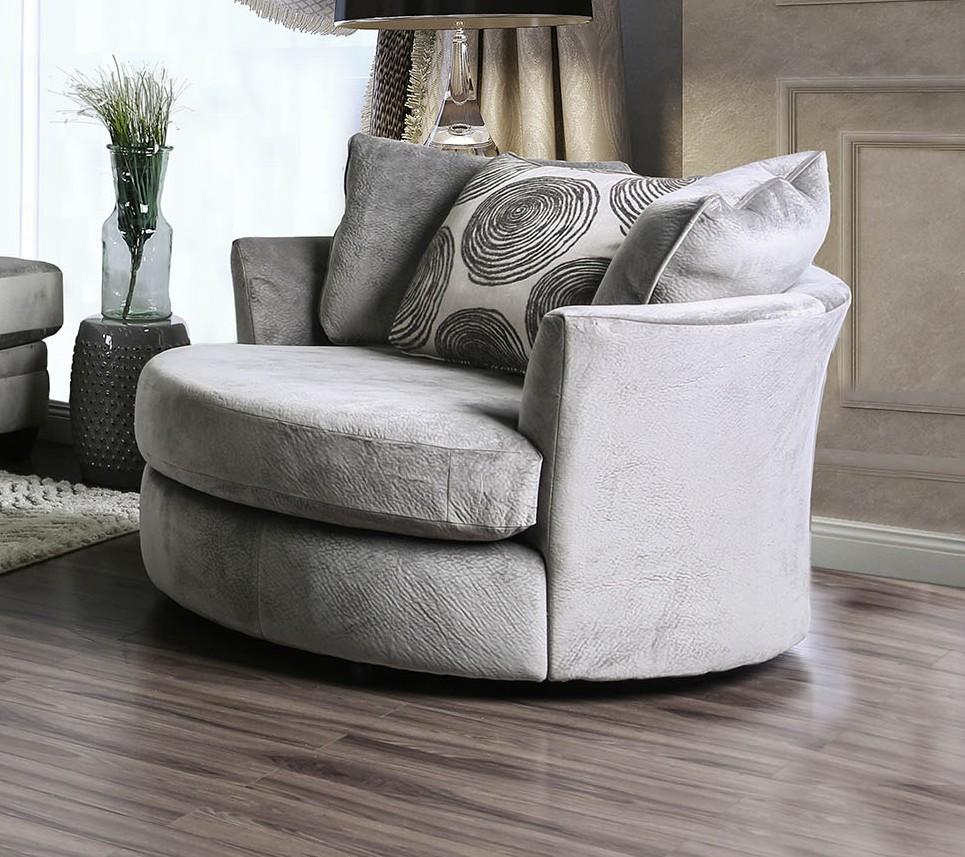 SM5142GY-CH Bonaventura gray plush microfiber swivel oversized round accent chair