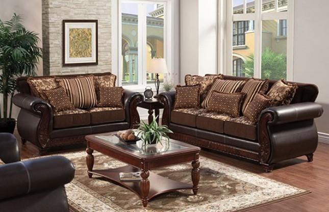 SM6106N 2 pc franklin dark brown fabric wood trim sofa and love seat set