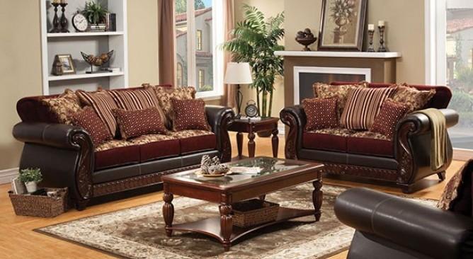 SM6107N 2 pc franklin burgundy fabric wood trim sofa and love seat set