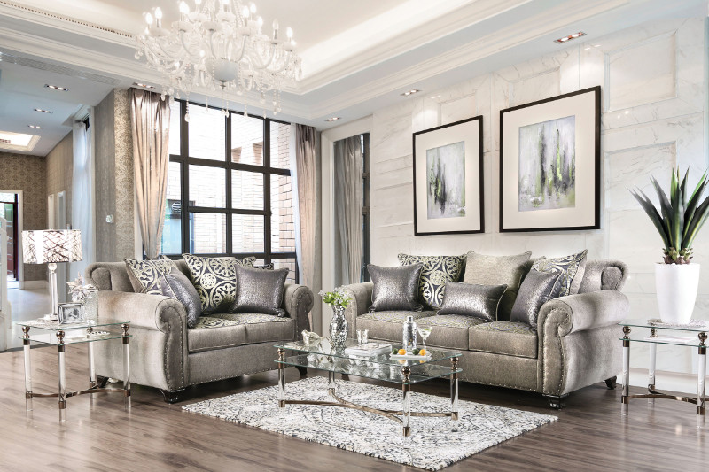 SM6153 2 pc Sinatra gray chenille fabric sofa and love seat set with nail head trim
