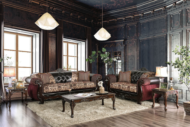 SM6415 2 pc Quirino burgundy dark brown sofa and love seat set with carved wood accents