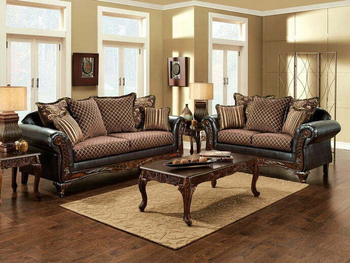 2 pc san roque traditional style two tone gold brown fabric and espresso leatherette sofa and love seat set with wood trim made in the usa