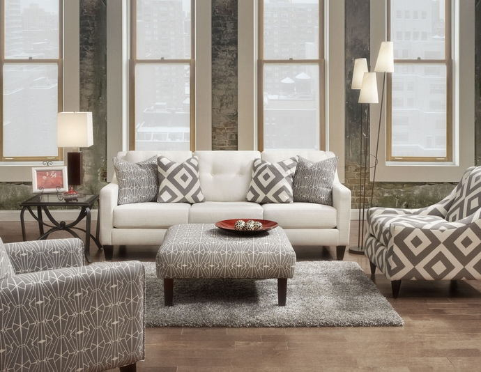 2 pc parker collection ivory premium fabric upholstered contemporary style sofa and love seat set