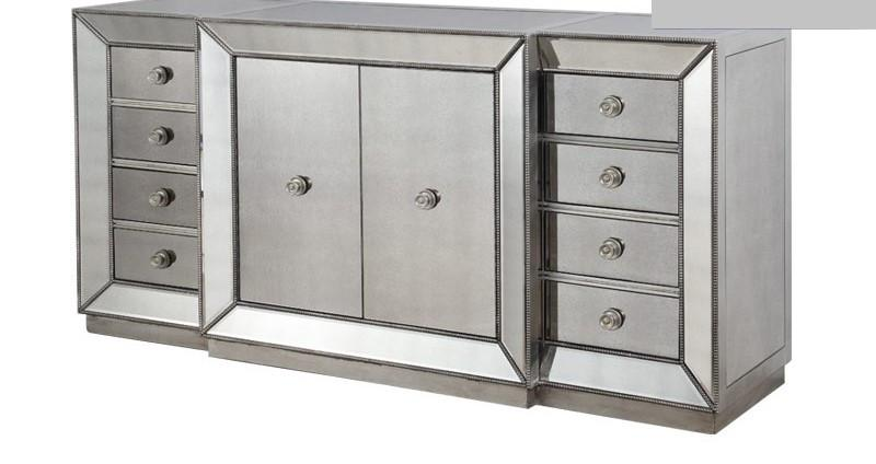 Best Master T1803-Sideboard Silver finish wood and mirrored panels sideboard server cabinet