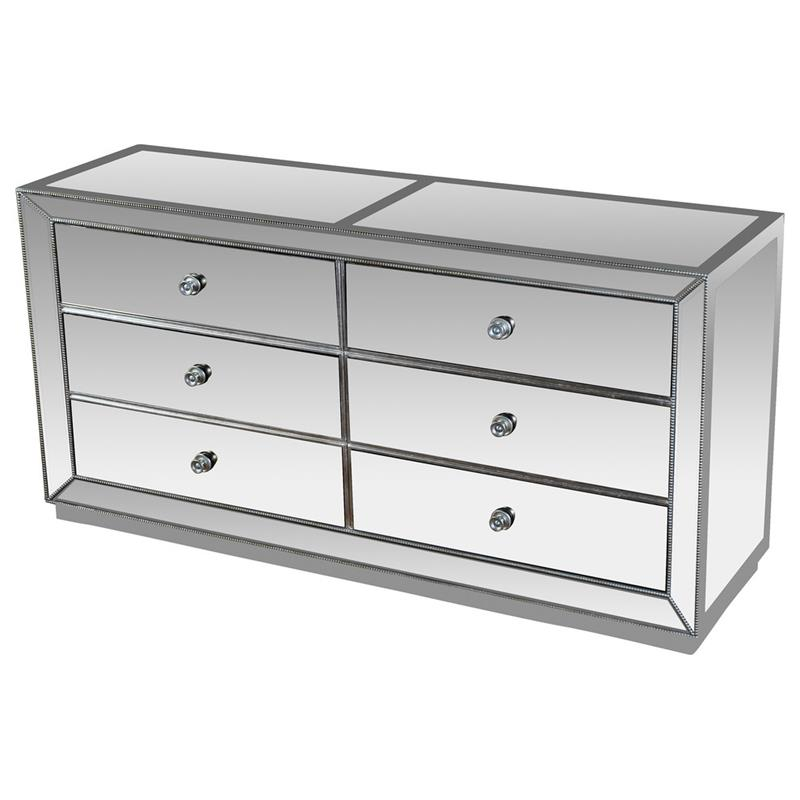 Best Master T1803-Dresser Silver finish wood and mirrored panels Dresser 6 drawer chest