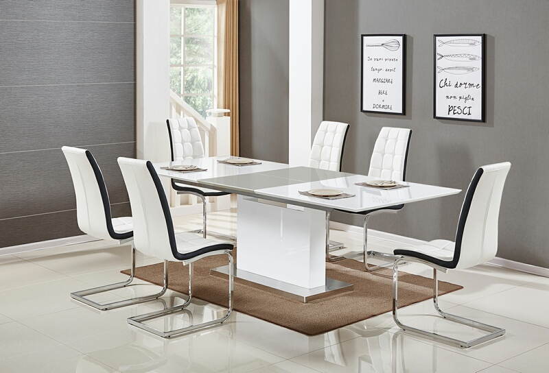Best master U626-7pc-WHT 7 pc Everett glossy white finish wood modern dining table set white chairs
