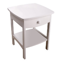 10218 Claire Curved Accent Table, Nightstand, White