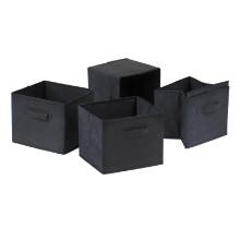 Capri set of 4 foldable black fabric baskets