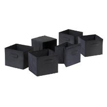 22611 Capri 6-Pc Foldable Baskets, Black