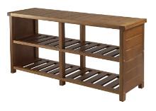 33348 Keystone Bench, Shoe Storage, Teak Finish