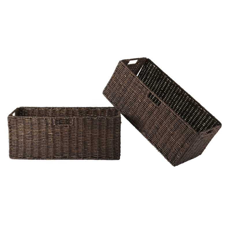 Granville Foldable 2-pc Large Corn Husk Baskets, Chocolate