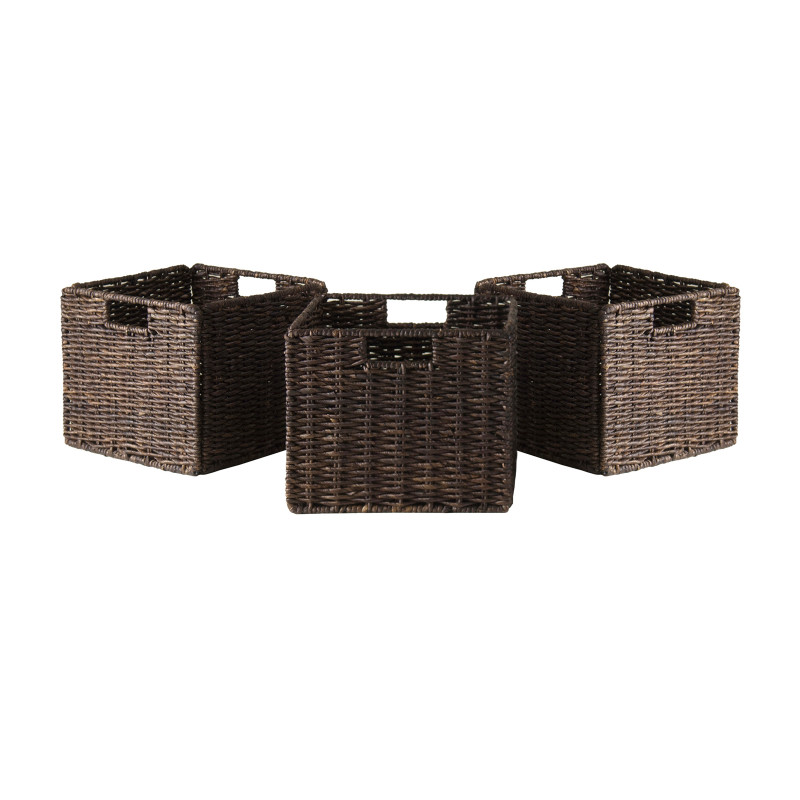 Granville Foldable 3-pc Small Corn Husk Baskets, Chocolate