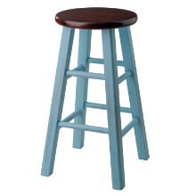 65224 Ivy Counter Stool, Rustic Light Blue & Walnut