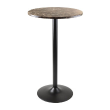76124 Cora Round Pub Table, Faux Marble Top, Black Base