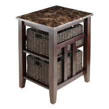 76320 Zoey Side Table Faux Marble Top with 2 Baskets