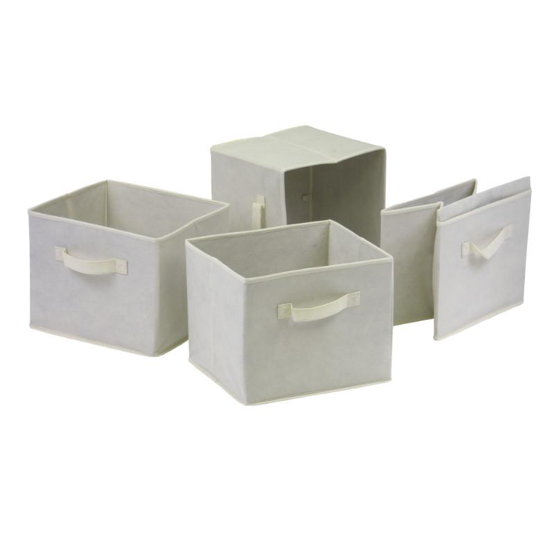 Capri Set of 4 Foldable Beige Fabric Baskets