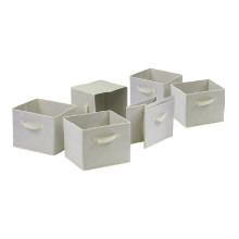 82611 Capri Set of 6 Foldable Beige Fabric Baskets