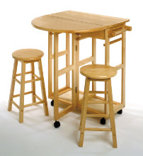 Winsome Beech Space Saver, Drop Leaf Table with 2 Round Stools at Sears.com