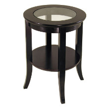 Genoa end table, glass inset, one shelf
