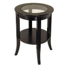 92218 Genoa End Table, Glass Inset, one shelf