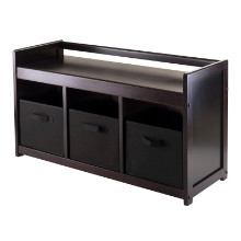 92301 Addison 4-Pc Set, Storage Bench & 3 Black Baskets