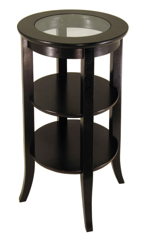 Genoa Accent Table, Inset Glass, two shelves