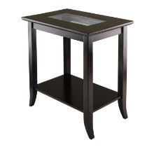 92419 Genoa Rectangular End Table with Glass Top and shelf