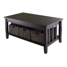 92441 Morris Coffee Table with 3 Foldable Baskets