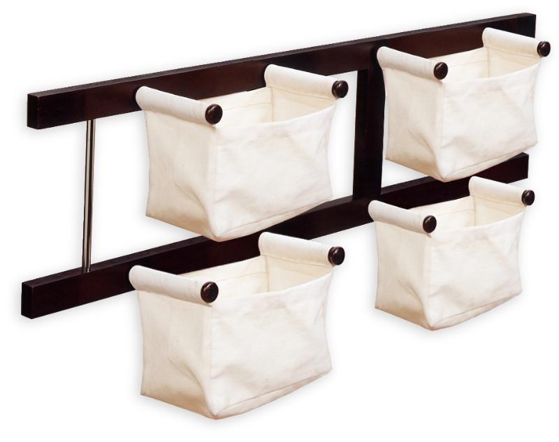 Storage/Magazine Rack with 4 Canvas Baskets
