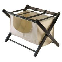 92535 Dora Luggage Rack with Fabric Basket, Espresso